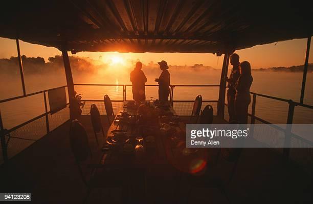 River safari at sunset, Zambezi River, Zimbabwe