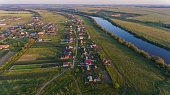 Panorama Village on the banks of the river from the air