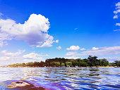 Majestic view of Sava river and Ada Ciganlija in Belgrade, Serbia in summer.