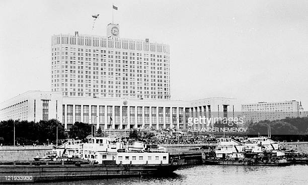 River ships moor in front the Russian White House in Moscow on August 21 to support Boris Yeltsin Russia marks on August 1922 the 20th anniversary of...