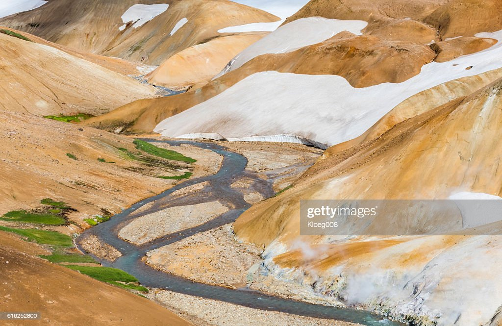 River, Snow and Orange Hills in Kerlingarfjoll : Stock Photo