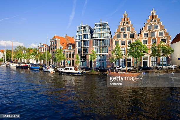River Spaarne Waterfront in Haarlem Netherlands