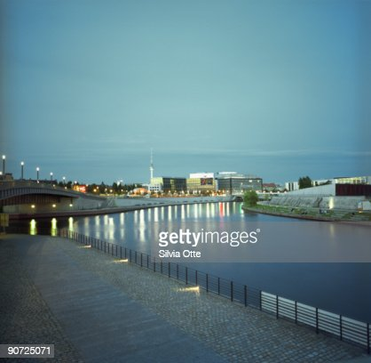 River Spree with Radio tower in the background : Stock Photo