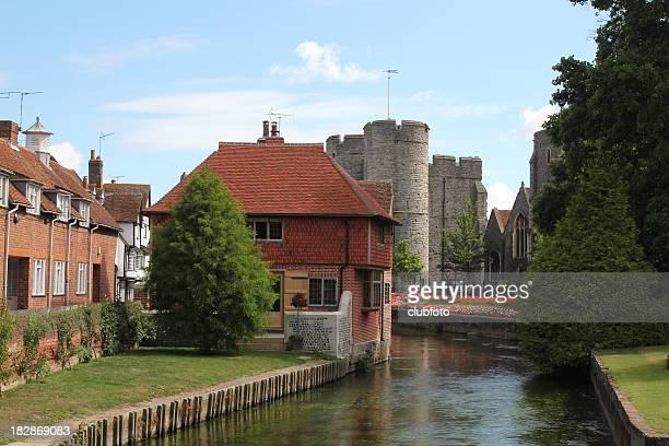 River Stour passing through Canterbury, Kent, UK