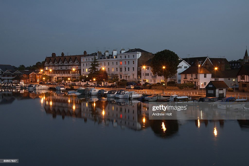 River Thames and lights of Henley at twilight