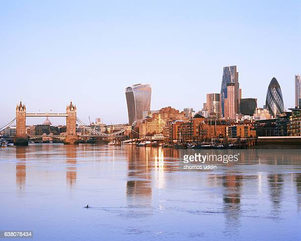 River Thames and the city skyline at sunrise