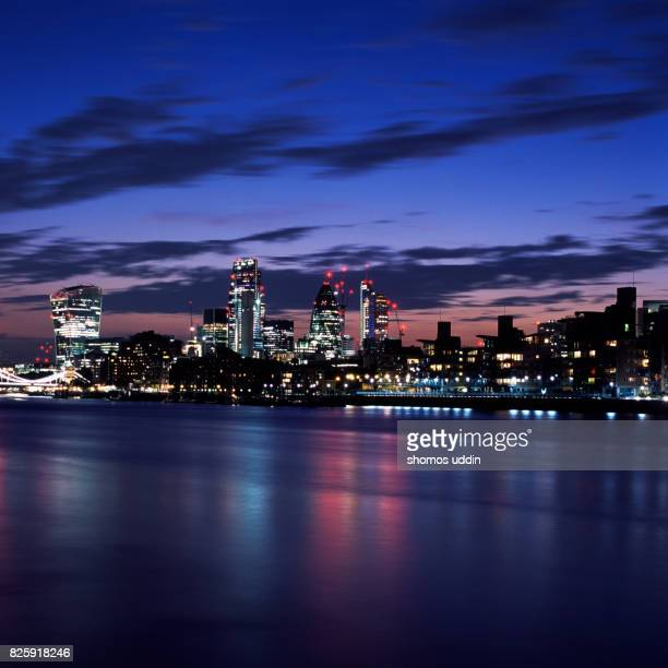 River Thames and the night skyline of London city