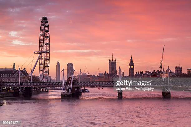 River Thames, Palace of Westminster and London Eye