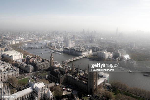 River thames, The London Eye and Parliament, aerial view in fog