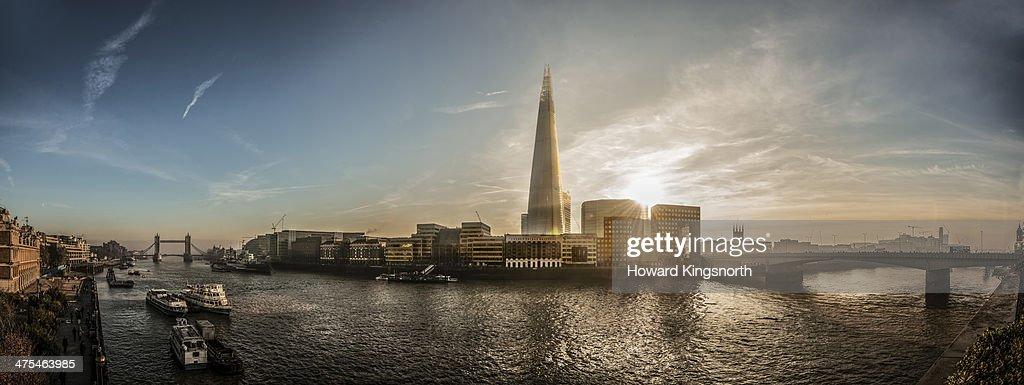 River Thames, The Shard panorama : Stock Photo