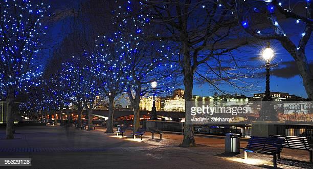 River Themes walk in London at dusk at Christmas