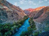 River through Charyn Canyon in South East Kazakhstan taken in August 2018 taken in hdr