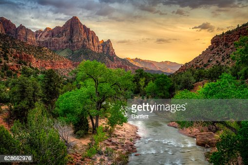 River Through Zion at Sunset, Zion National Park, Utah : Stock Photo