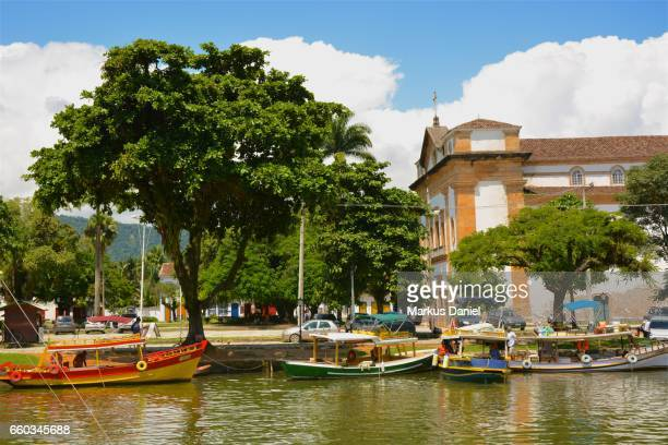 River view with boats in Town of Paraty, Rio de Janeiro