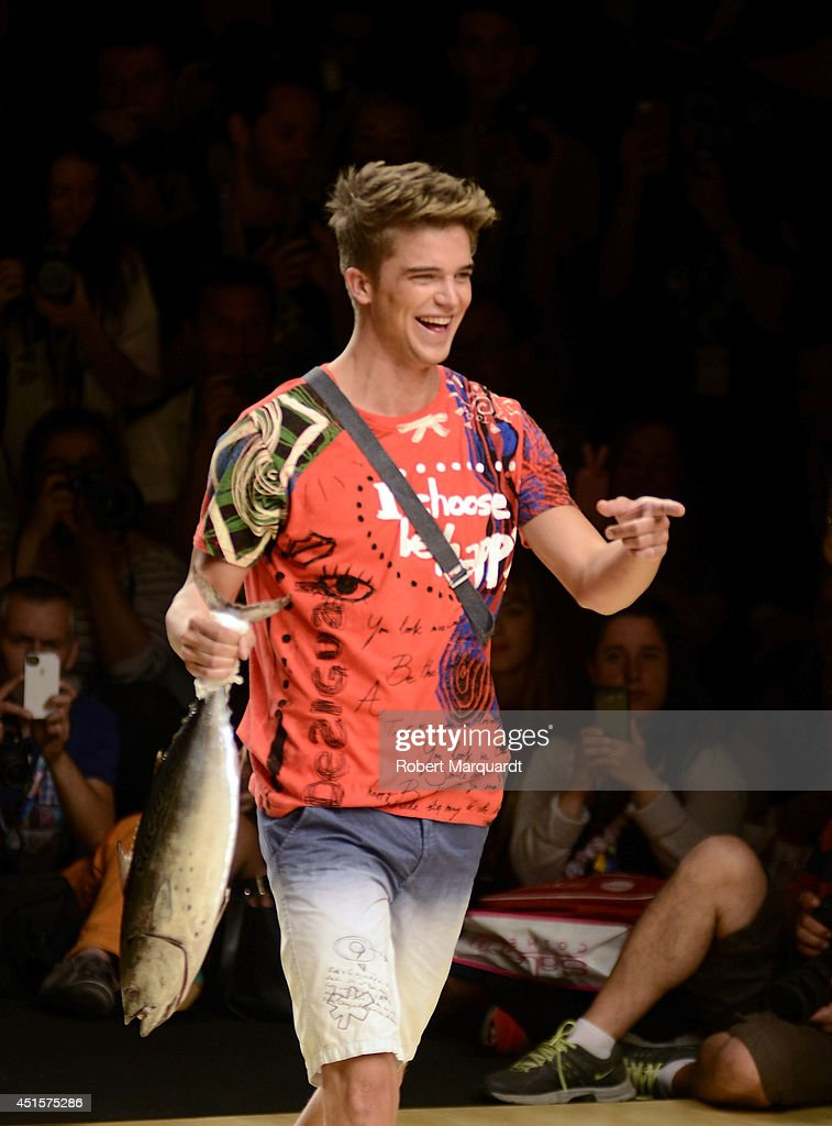 <a gi-track='captionPersonalityLinkClicked' href=/galleries/search?phrase=River+Viiperi&family=editorial&specificpeople=8600726 ng-click='$event.stopPropagation()'>River Viiperi</a> walks the runway for the Desigual collection 'Say Something Nice To Men' at the 080 Barcelona Fashion Week 2014 on July 1, 2014 in Barcelona, Spain.