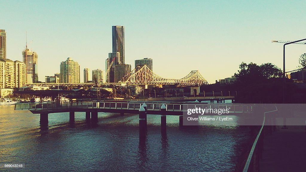 River With Buildings Against Clear Sky