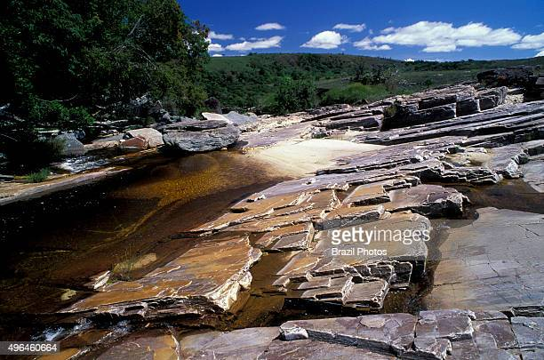 River with natural pool at Sao Thome das Letras Minas Gerais State Brazil a typically provincial locality built on a wide mineral quartzite deposit...