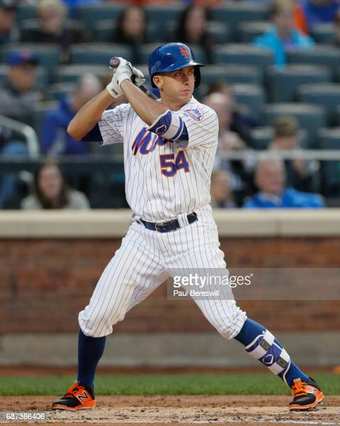J Rivera of the New York Mets bats in an interleague MLB baseball game against the Los Angeles Angels of Anaheim on May 20 2017 at CitiField in the...