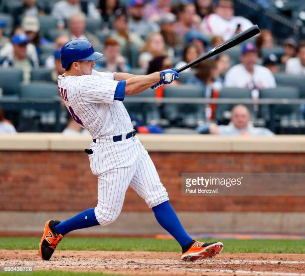J Rivera of the New York Mets bats in an MLB baseball game against the Pittsburgh Pirates on June 4 2017 at CitiField in the Queens borough of New...