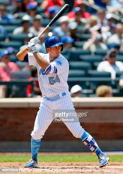 J Rivera of the New York Mets bats in an MLB baseball game against the Washington Nationals on June 18 2017 at CitiField in the Queens borough of New...