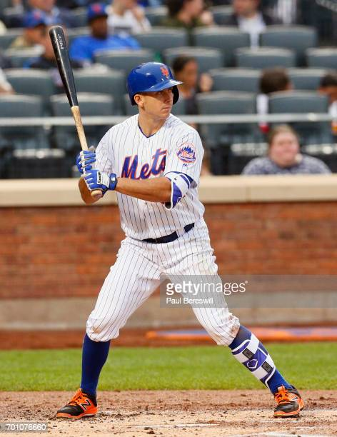 J Rivera of the New York Mets bats in an MLB baseball game against the Washington Nationals on June 16 2017 at CitiField in the Queens borough of New...