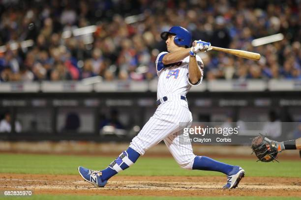 TJ Rivera of the New York Mets batting during the San Francisco Giants Vs New York Mets regular season MLB game at Citi Field on May 09 2017 in New...