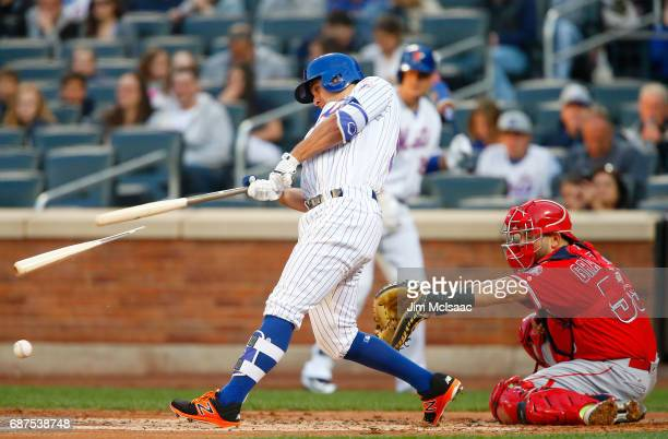 TJ Rivera of the New York Mets in action against the Los Angeles Angels of Anaheim at Citi Field on May 20 2017 in the Flushing neighborhood of the...