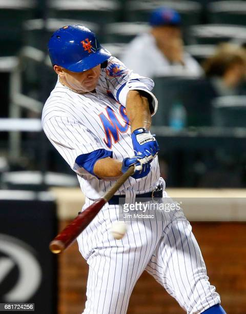 J Rivera of the New York Mets in action against the Miami Marlins at Citi Field on May 5 2017 in the Flushing neighborhood of the Queens borough of...