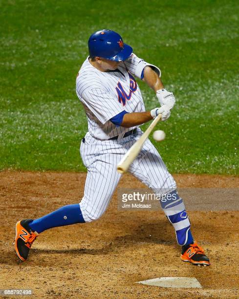 J Rivera of the New York Mets in action against the San Diego Padres at Citi Field on May 25 2017 in the Flushing neighborhood of the Queens borough...