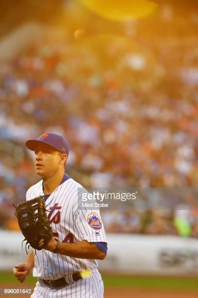 J Rivera of the New York Mets looks on against the Chicago Cubs at Citi Field on June 14 2017 in the Flushing neighborhood of the Queens borough of...