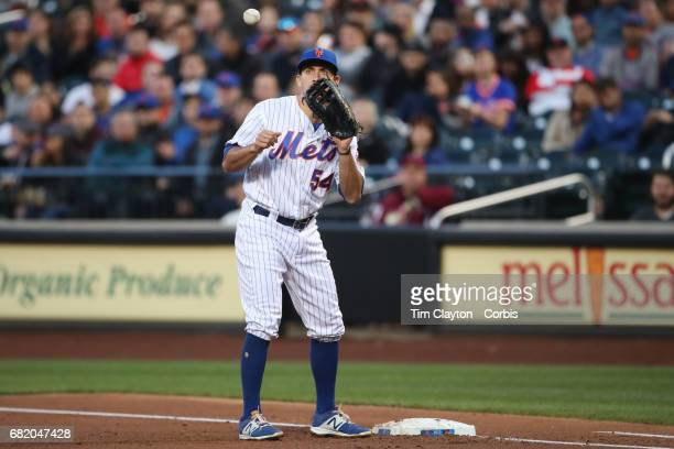 TJ Rivera of the New York Mets makes an out at first base during the San Francisco Giants Vs New York Mets regular season MLB game at Citi Field on...