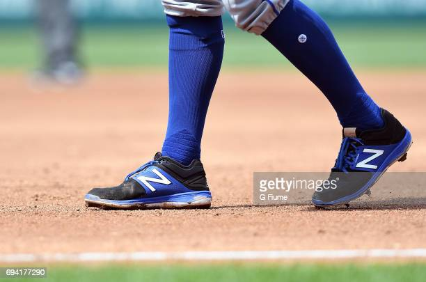 J Rivera of the New York Mets wears New Balance shoes during the game against the Washington Nationals at Nationals Park on April 29 2017 in...