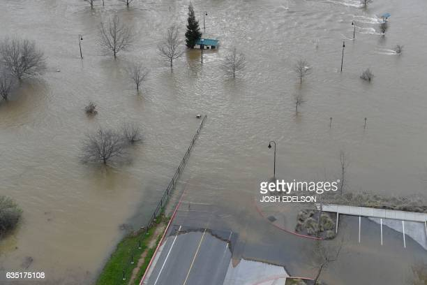 Riverbend Park is seen under flood water in Oroville California on February 13 2017 Almost 200000 people were under evacuation orders in northern...