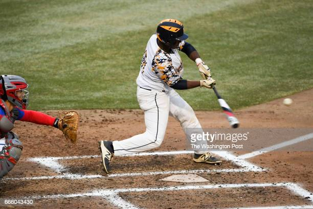 Riverdale Baptist batter Ian Clements doubles in the fourth inning against Riverdale Baptist in Bowie MD on April 7 2017