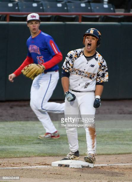 Riverdale Baptist Jose Rivera celebrates after cranking a two run triple in the fifth inning against DeMatha in Bowie MD on April 7 2017