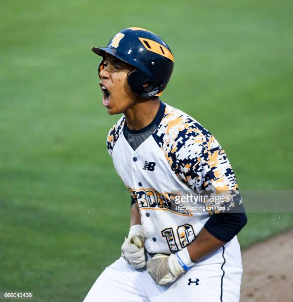 Riverdale Baptist outfielder Matt Day reacts after hitting a RBI single in the fifth inning against DeMatha in Bowie MD on April 7 2017