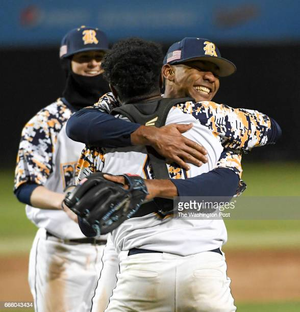 Riverdale Baptist pitcher Harold Cortijo hugs his catcher Ian Clements after their win over DeMatha in Bowie MD on April 7 2017