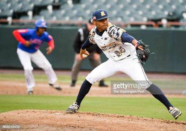 Riverdale Baptist starting pitcher Harold Cortijo delivers during action against DeMatha in Bowie MD on April 7 2017