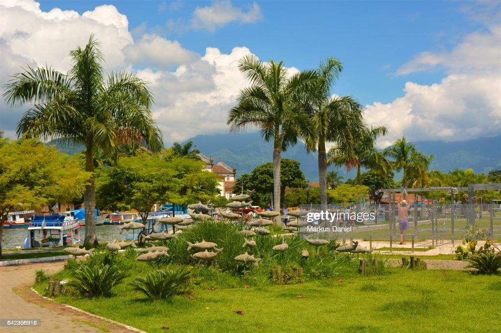 Riverfront Park of Town of Paraty, Rio de Janeiro : Stock Photo