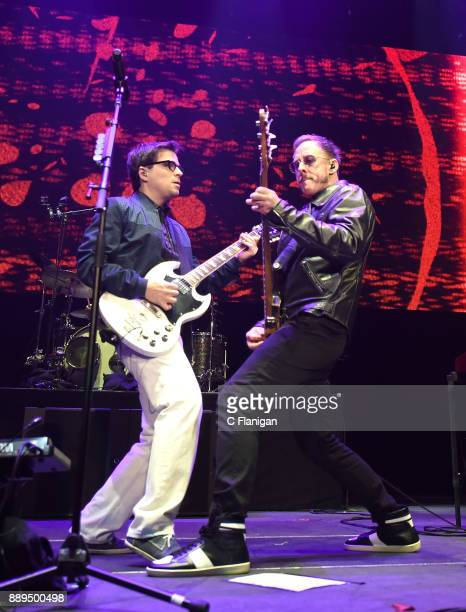 Rivers Cuomo and Scott Shriner of Weezer perform during Live 105's 2017 Not So Silent Night at ORACLE Arena on December 9 2017 in Oakland California