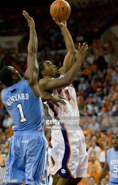 C Rivers of the Clemson Tigers goes up around Marcus Ginyard of the North Carolina Tar Heels for this shot at Littlejohn Coliseum January 6 2008 in...