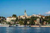 Daytime shot of riverside Belgrade on the Sava river
