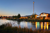 Renovated Old Industrial Buildings at Sunset along the River in Bend, Oregon