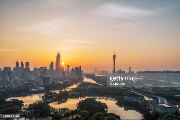 Riverside city at sunset, Guangzhou, Guangdong, China
