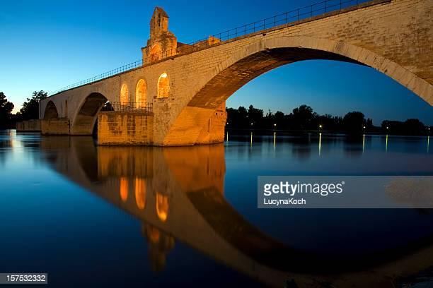 Riverside landscape of bridge at Saint-Benezet