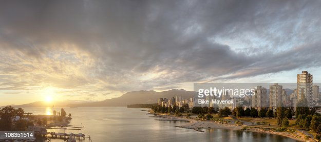 Riverside landscape of sunset over Vancouver, BC