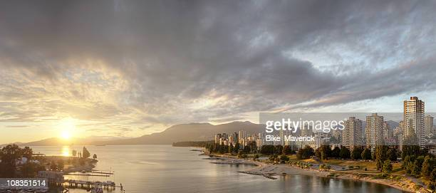 Riverside landscape of sunset over Vancouver, BC
