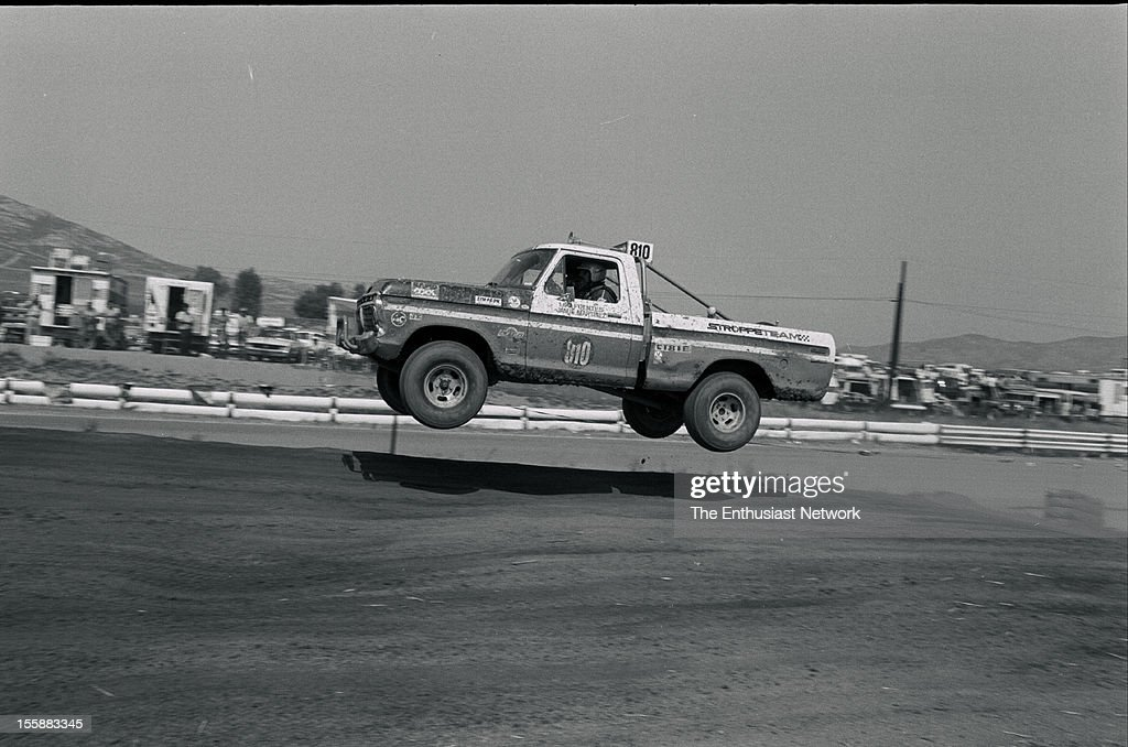 Riverside Off-Road Race. Lou Fuentes and Jamie Martinez racing a Stroppe Team Ford Pickup truck