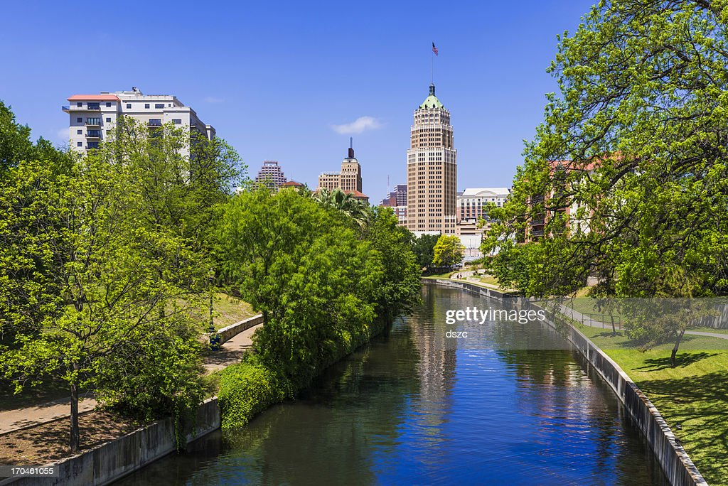 Riverwalk - San Antonio Texas,  park walkway along scenic canal