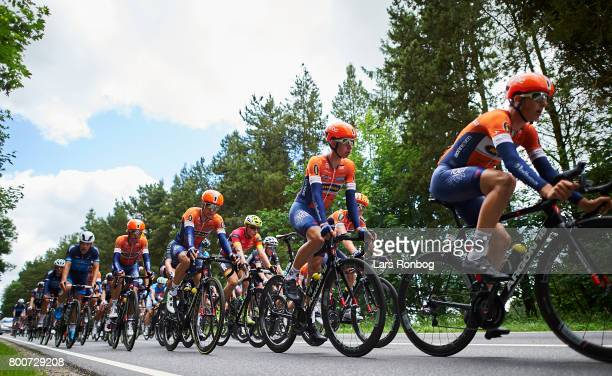 Riwal Platform Cycling Team leading the peloton during the Elite Mens Road Race in the Danish Road Cycling Championships on June 25 2017 in Grindsted...